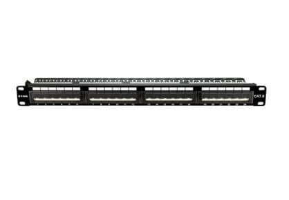 D-Link 24 Port Cat6 Unshielded Angular Fully Loaded Punch Down Patch Panel - Keystone Type -1U- Black Colour